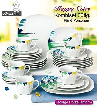 Kombiservice U0027Happy Coloru0027 / Geschirrset 30 Teilig / Steinmann Porzellan   Geschirr  Set
