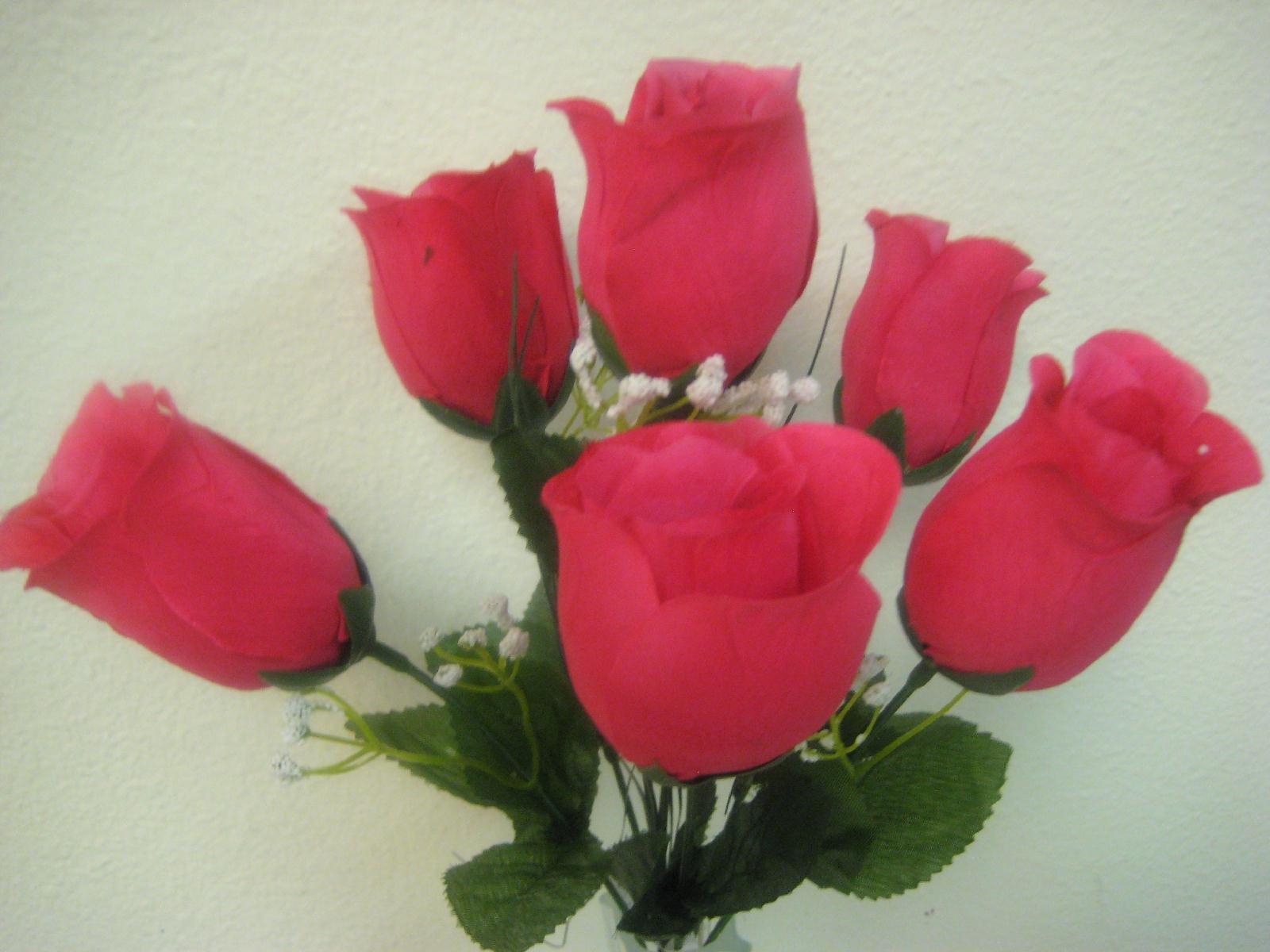 3-Bushes-Rose-Bud-Artificial-Silk-Flowers-13-Bouquet-6-599
