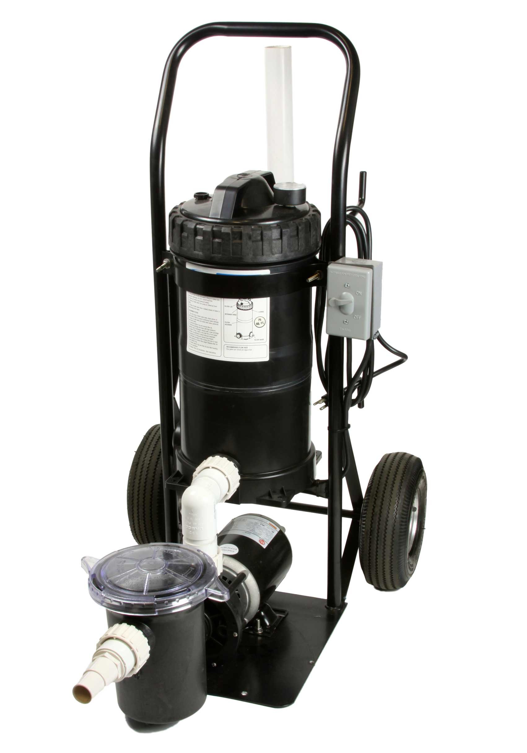 Portable Pool Filter System Mini Vac 1 HP System Generates 50 GPM Mounted on a Small Cart