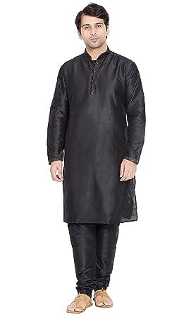 f435c0e9d0f9 Kurta Pajama Indian Wear Mens Ethnic Traditional Long Sleeve Kurta Pyjama  Wedding Dress -M Black
