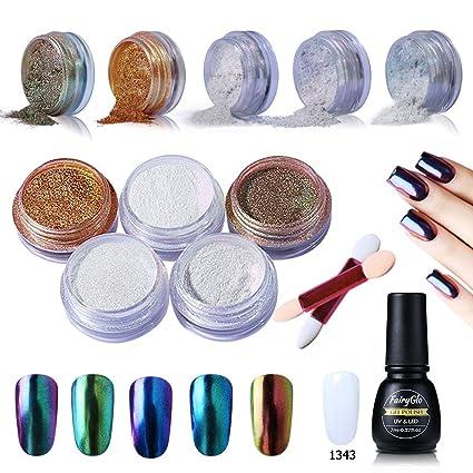 Esmalte de Uñas en Polvo Esmaltes Semipermanentes Efecto de Espejo 6pcs Kit de Manicura con Base
