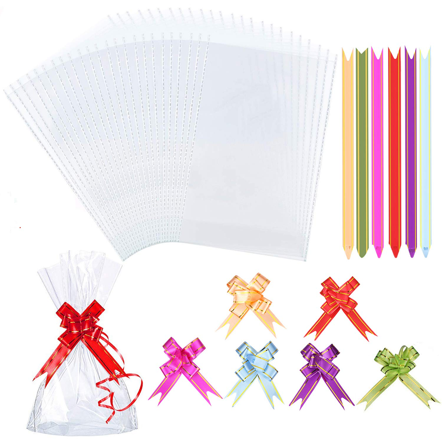AUERVO 120PCS Clear Cellophane Treat Bags, Clear Resealable Flat Cello Bags OPP Plastic Bag Cellophane Storage Bags Sweet/Party/Gift/Home Bags with 120PCS Mix Colors Pull Bows