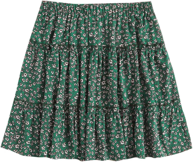 Milumia Women's Casual Plus Size Ruffled Frill Mid Waist A Line Skater Mini Skirt