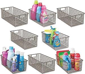 mDesign Household Deep Metal Wire Storage Organizer Bin Basket, Built-in Handles - Laundry Room, Kitchen Cabinets, Pantry, Closets, Bedrooms, Bathrooms - 8 Pack - Bronze