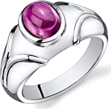 Mens Created Ruby Cabochon Ring Sterling Silver Rhodium Nickel Finish 3.00 Carats Sizes 8 to 13