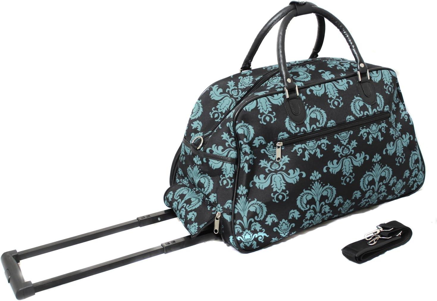 World Traveler 21 Inch Carry On Rolling Duffel Bag Black Blue Damask Travel Duffels