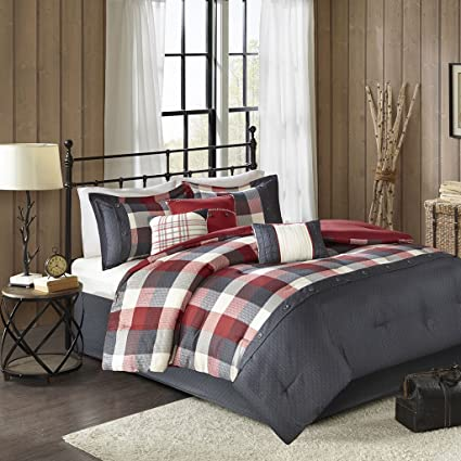 Madison Park Ridge Queen Size Bed Comforter Set Bed In A Bag   Red, Plaid