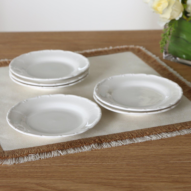 SOLECASA ''6-inch/Set of 6'' White Porcelain/Ceramic Round Dinner Plate,Serving Plate,Cake/Salad/Dessert/Bread&Butter Plate