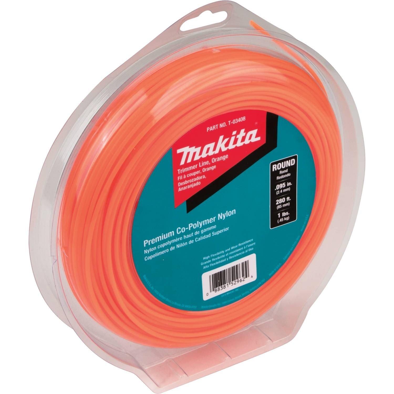 "Makita T-03408 Round Trimmer Line, 0.095"", Orange, 280, 1 lbs"