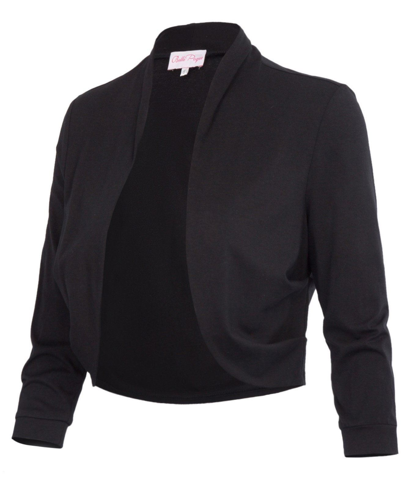 Spring Black Cropped Wedding Bolero Jacket Plain(XL, Black 512-1) by JS Fashion Vintage Dress (Image #6)