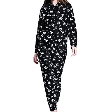 35bd086103d8b AIREE FAIREE Grenouillères Femme Combinaison Pyjama à capuche en polaire  Onesies -Motif de Patte Noire