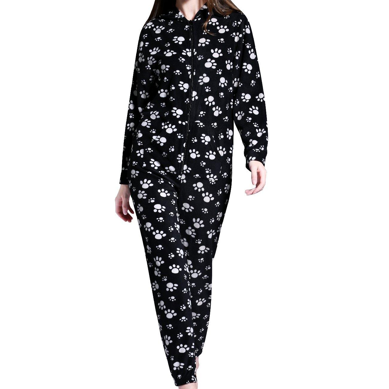 Airee Fairee Damas para Mujer con Capucha Onesie Todo en Pijama Mono una Ropa de Dormir Pijamas