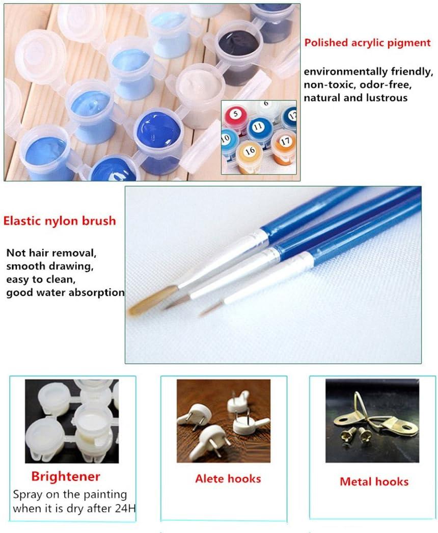 Medigy Valentine Gift Set Malen nach Zahlen mit Holz Rahmen 16x20IN ungiftig Acrylpigmente-Love-Serie Beach