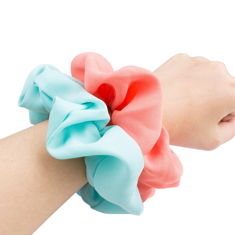 15 Pack Women's Large Chiffon Flower Hair Scrunchies Ondder Hair Bow Chiffon Ponytail Holder, Including 8 Colors Chiffon Flower Hair Scrunchies and 7 Solid Colors Chiffon Hair Scrunchy Ties