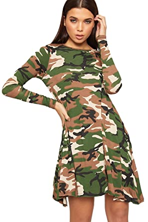 a9be99f1866a4 WearAll New Womens Army Camouflage Print Long Sleeve Flared Top Ladies Swing  Dress - Camouflage -
