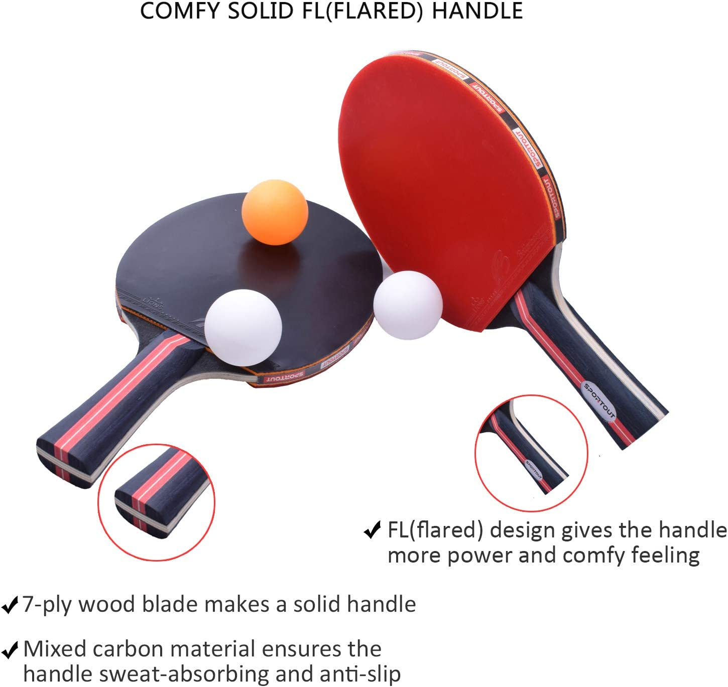 Sportout Table Tennis Racket, Ping Pong Paddle Set with 2 Bats and 3 Ping Pong Balls and Table Tennis Paddle Case : Sports & Outdoors