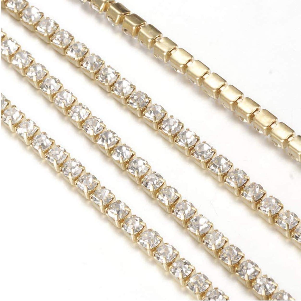 decoraci/ón para coser artesan/ía de boda Wohlstand Cinta trenzada de piedra brillante Crystal Rhinestone cierre de cadena de corte de la garra para joyer/ía
