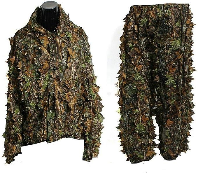icase4u/® 3D Feuille Camouflage pour la Chasse Camo Yowie Sniper tir /à larc Ghillie Suit Bionic Camouflage Chasse V/êtements XXL Suit