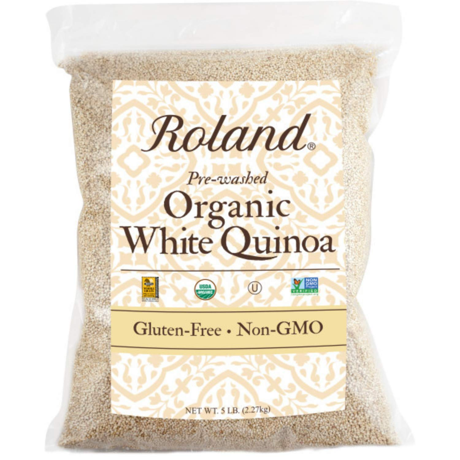 Roland Foods Organic White Quinoa, Pre-washed, Specialty Imported Food, 5 Lb Bag