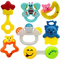 SAISAN Rattle with Various Exciting Toys for New Borns and Infants (Multicolour) Set of 5 Pieces