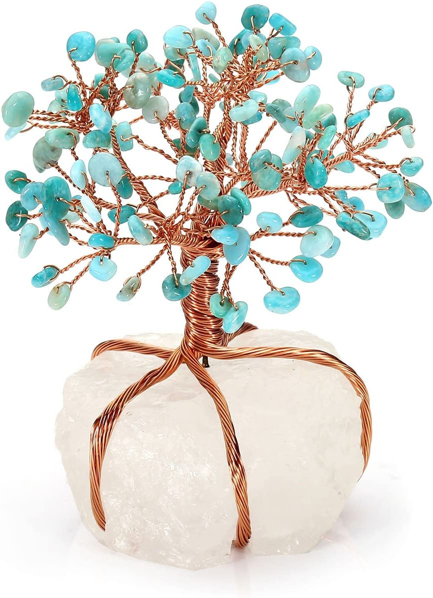 Jovivi Natural 7 Chakra Tumbled Stones Tree Money Crystal Quartz Money Tree Feng Shui Tree of Life Ornament Reiki Crystals Office Table Decoration for Living Room Wealth and Luck