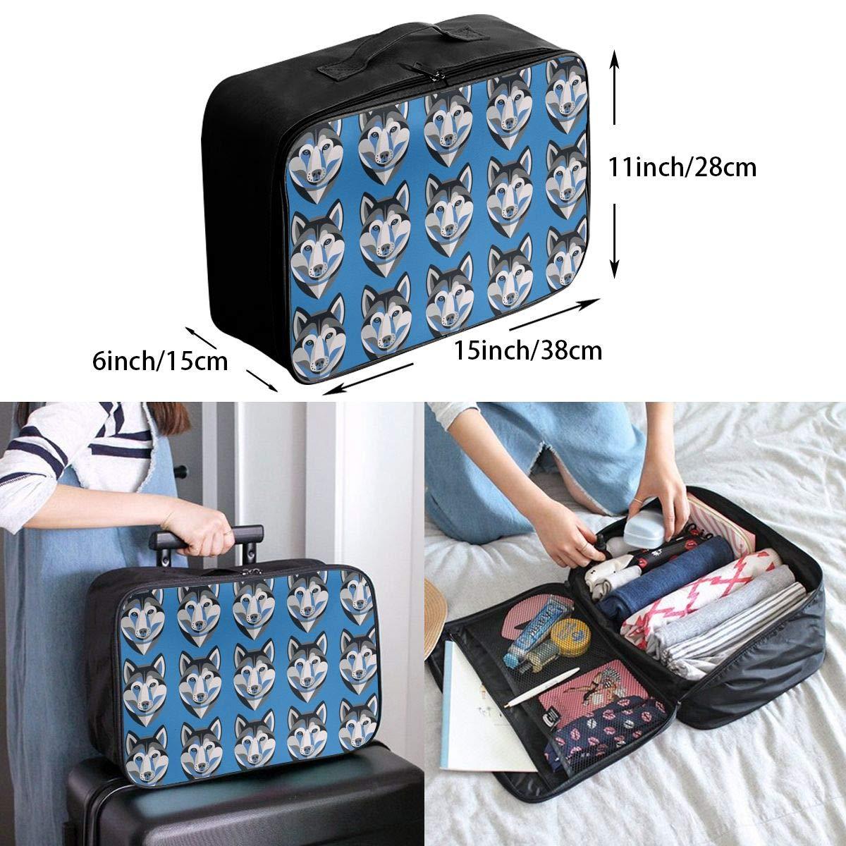 YueLJB Siberian Husky Pattern Lightweight Large Capacity Portable Luggage Bag Travel Duffel Bag Storage Carry Luggage Duffle Tote Bag