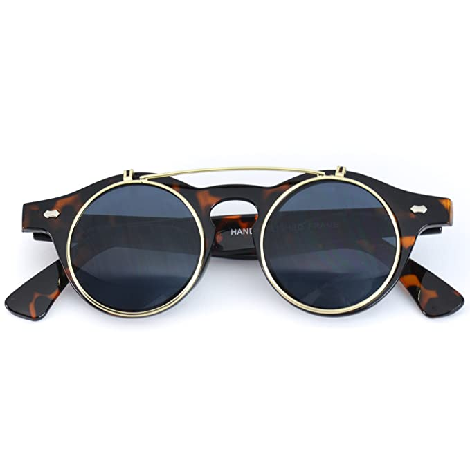 Men's Steampunk Goggles, Guns, Gadgets & Watches Flip up Cyber Steampunk Round Circle Retro Sunglasses $9.95 AT vintagedancer.com