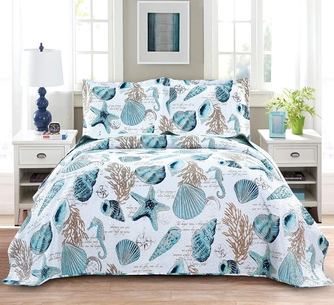 Summer Beach Bedspreads Set Seashell Conch Coverlet Sets Full/Queen Size,3Pcs Lightweight Coastal Quilts Starfish Seahorse Seaweed Printed Bedding Pillow Shams
