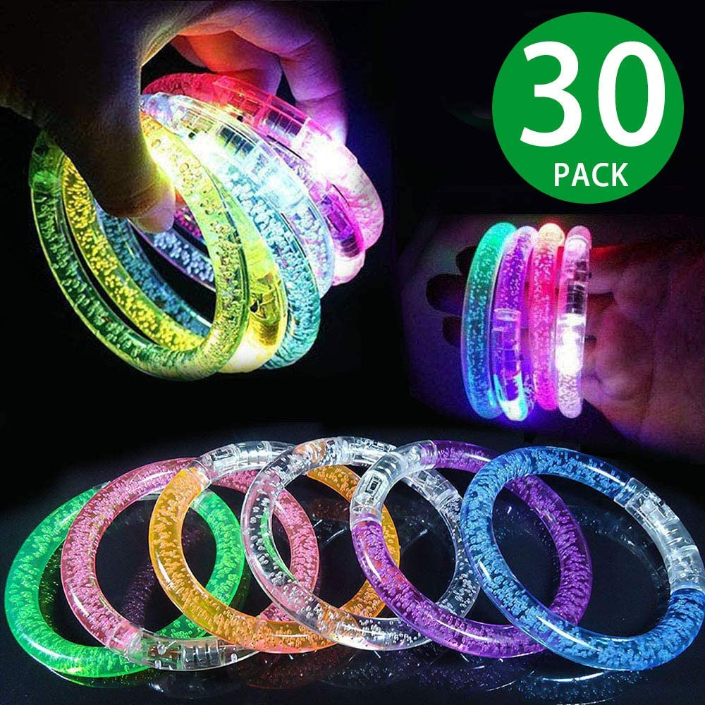 30 Pack Glow Sticks Bracelets ,6 Color LED Bracelets Party Supplies for Kids and Adults Glow in The Dark , LED Bracelet Light Up Party Favors for Concerts, Festivals, Sports, Parties, Night Events
