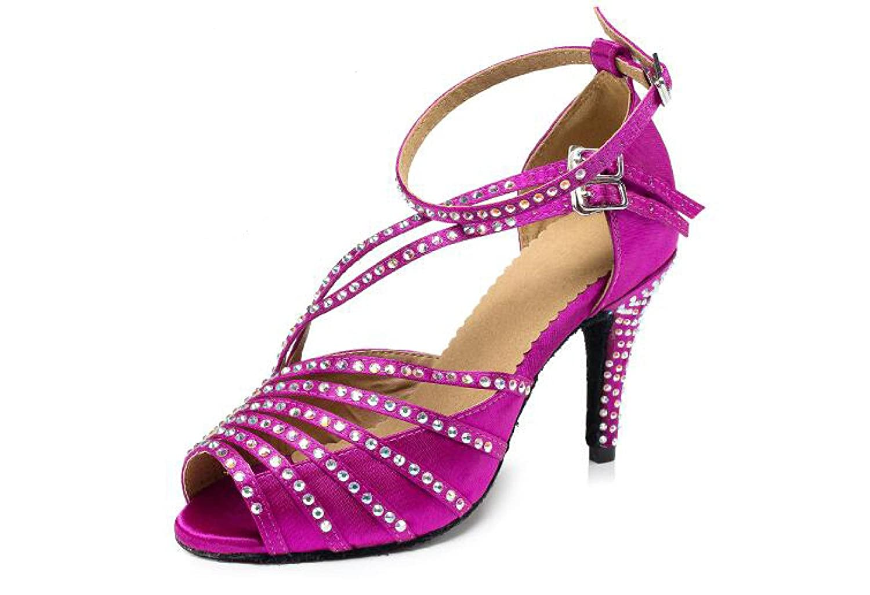 violetheeled8.5cm UK4.5 EU36 Our37 Jchaussures Cristaux Féminins Sparking Satin Latin Salsa Chaussures De Danse   Tango   Chacha   Samba   Moderne   Chaussures De Jazz Sandales Talons Hauts,Beigeheeled7.5cm-UK3.5 EU34 Our35