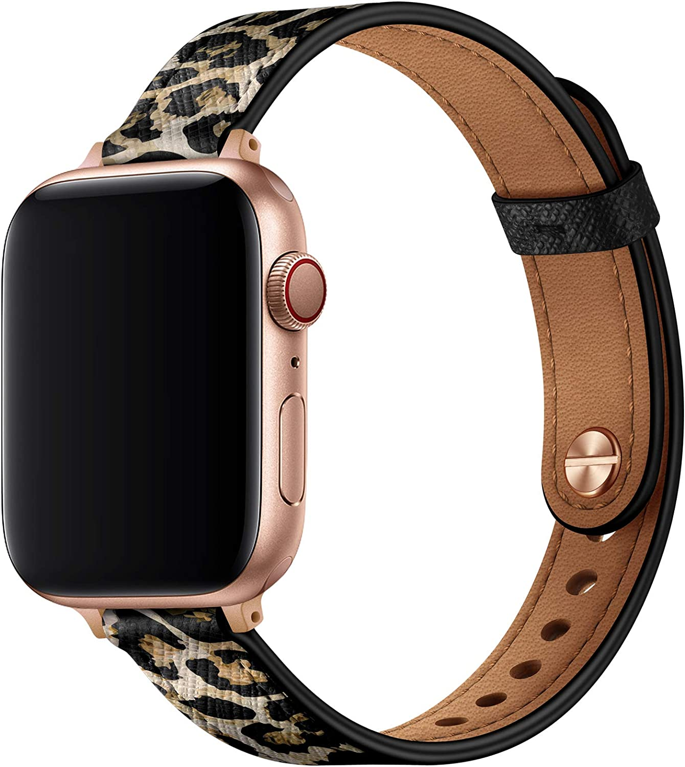 OUHENG Slim Band Compatible with Apple Watch Band 40mm 38mm 44mm 42mm, Women Genuine Leather Band Replacement Thin Strap for iWatch SE Series 6 5 4 3 2 1 (Leopard/Rose Gold, 40mm 38mm)