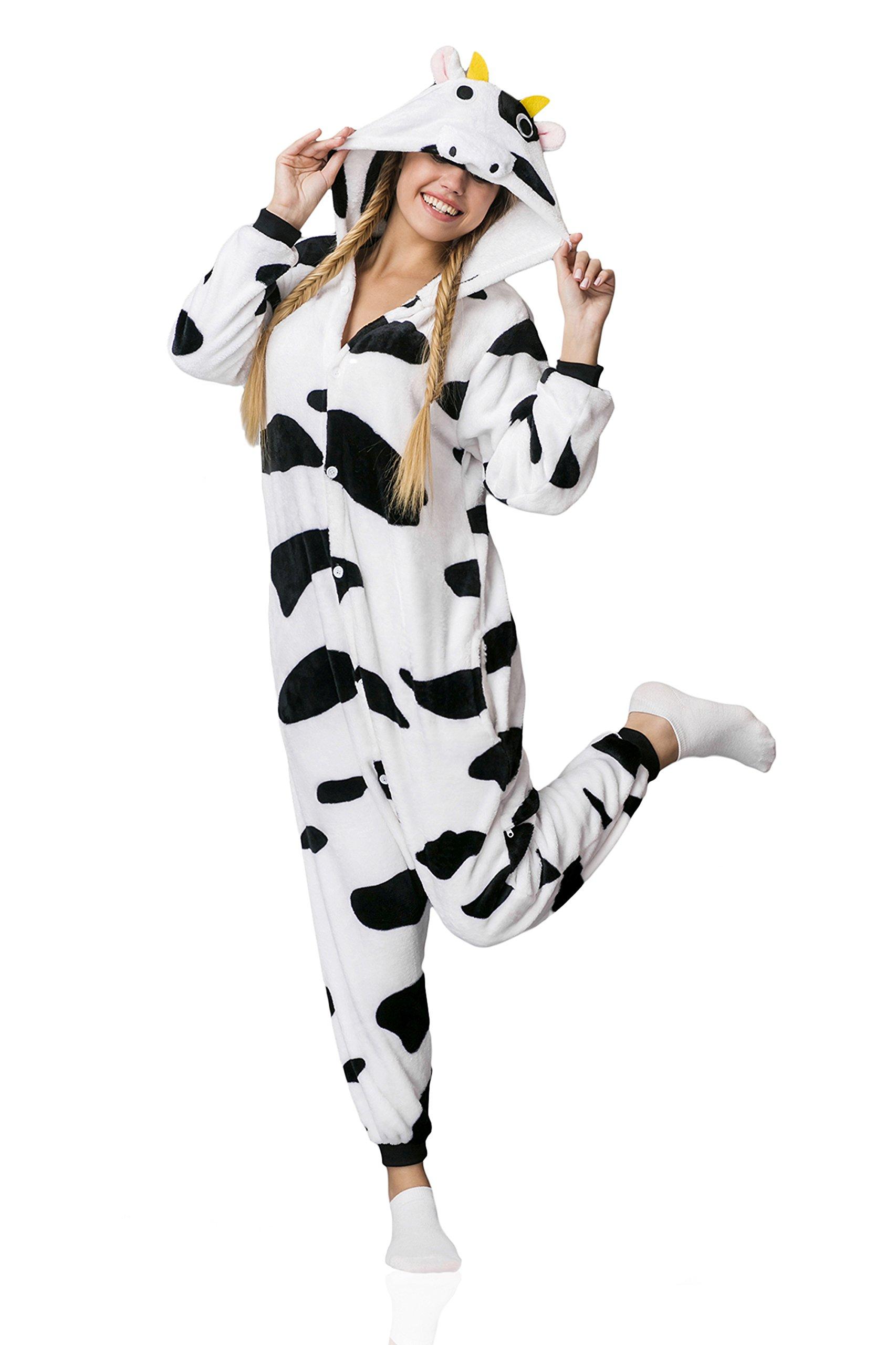 Nothing But Love Adult Cow Kigurumi Onesie Pajamas Costume Hooded Warm Fleece Pjs (Medium, White/Black/Cow Print) by Nothing But Love (Image #1)