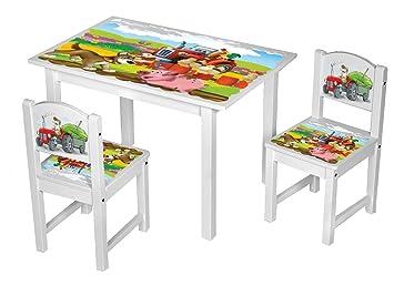 Kinderstuhl Kindertisch Kindermöbel massiv Holz weiß mit Motiv Größe ...