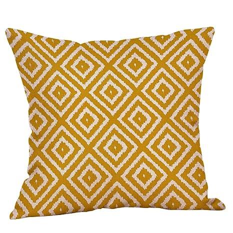 VJGOAL Mostaza Amarillo geométrico otoño otoño cojín Decorativo Decorativo Respetuoso del Medio Ambiente extraíble y Funda de Almohada Lavable