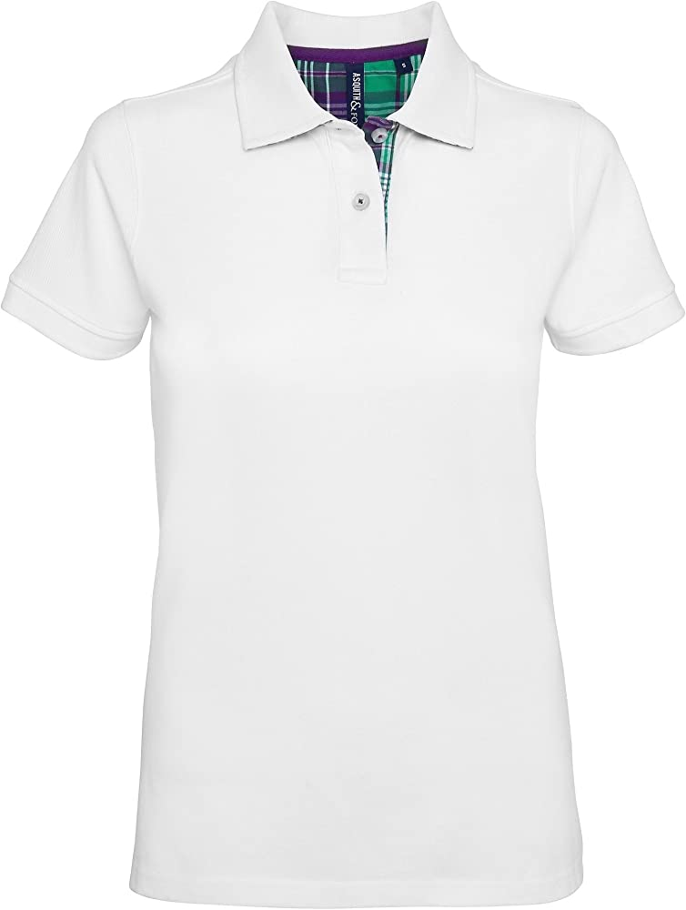 Asquith & Fox Womens Check Trim Polo, Blanco (White 000), 36 ...