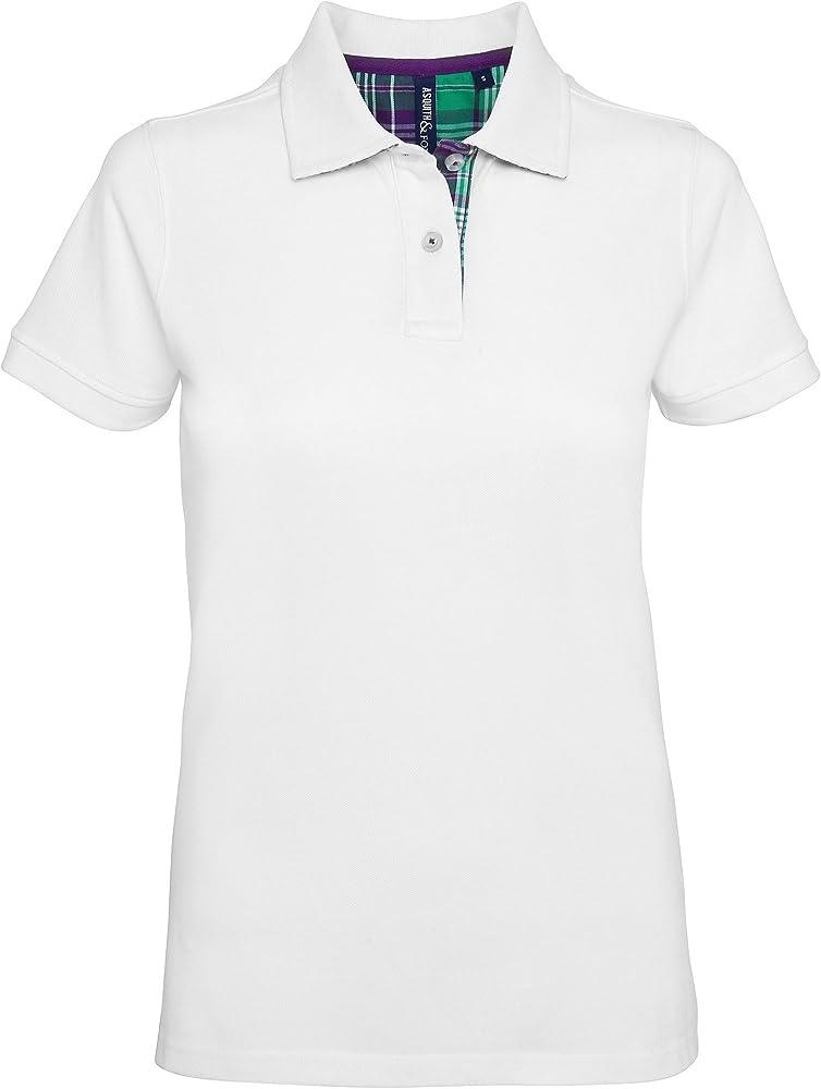 Asquith & Fox Womens Check Trim Polo, Blanco (White 000), 36 ...