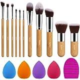 Syntus Bamboo Makeup Brush Set, 11 Makeup Brushes & 4 Blender Sponges & 1 Brush Cleaner Premium Synthetic Foundation Powder K