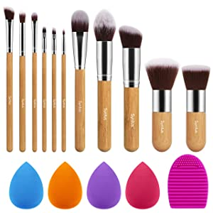 Syntus Makeup Brush Set, 11 Makeup Brushes & 4 Blender Sponges & 1 Brush Cleaner Premium Synthetic Foundation Powder Kabuki Blush Concealer Eye Shadow Makeup Brush Kit, Bamboo