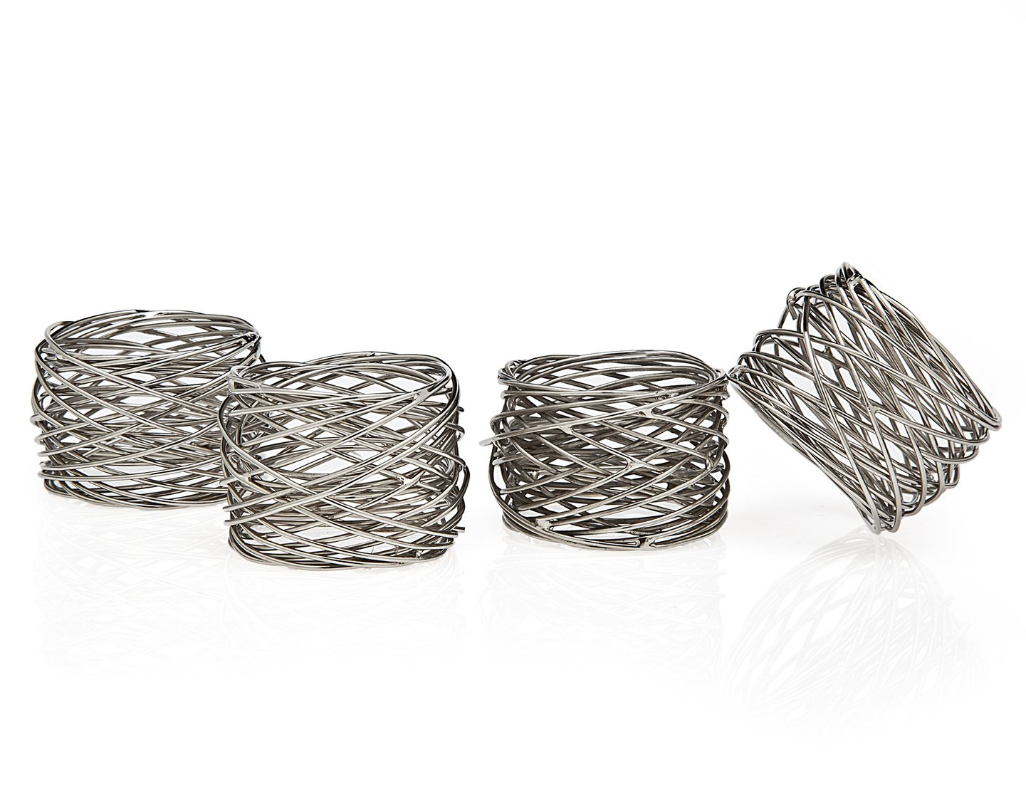 (Silver Mesh, Set of 4) - Godinger 94251 Round Mesh Napkin Ring - Set of 4,   B01CFMKTQA