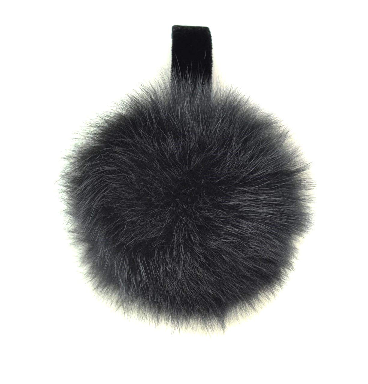 Surell Genuine Soft Grey Coyote Fur Earmuffs with Non Adjustable Velvet Head Band Winter Fashion Ear Warmers, Perfect Elegant Women's Luxury Gift