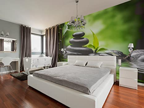 Fotomural Vinilo Pared Zen Piedras Bambú 200x150cm   Fotomural para paredes    Vinilo Decorativo   Varias Medidas   Decoración comedores, salones, ...