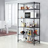 LANGRIA 6 Tier Shelving Units Wire Storage Rack Freestanding Heavy Duty Extra Large Wire Rack for Garage Kitchen Workshop, 661 lbs Weight Capacity, 35.4''x17.7''x78.7'', Black