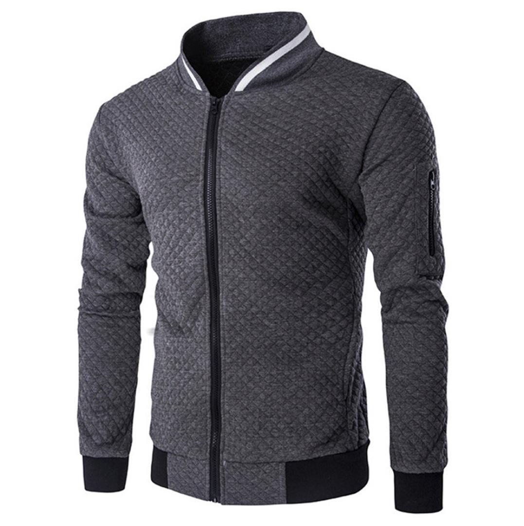 HOT ! YANG-YI Mens' Fashion Long Sleeve Plaid Cardigan Zipper Sweatshirt Tops Jacket Coat (Dark Gray, M)