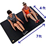 """Pogamat Large Exercise Mat 84"""" x 48"""" x 1/4"""" Thick (7' x 4') Anti-Tear Workout Mat And Yoga Mats. Perfect For All Types Of Exercises. Does Not """"Bunch Up"""" While Working Out. Used WITH Or Without SHOES"""