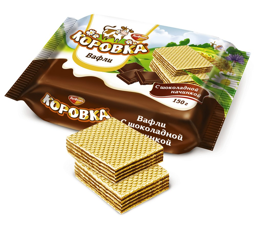 "Imported Russian Waffels ""Korovka"" stuffed with chocolate 150 g"