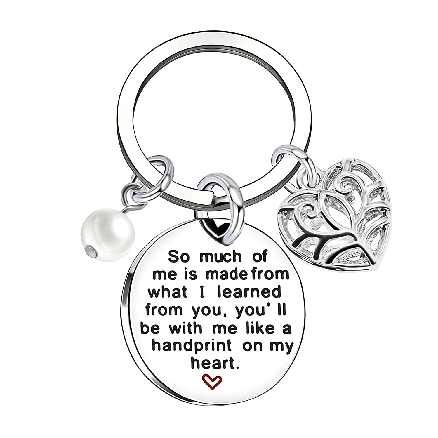 Teacher Key Chain Graduation Gift I Learned from You, You'll Always in My Heart Stainless Steel lauhonmin