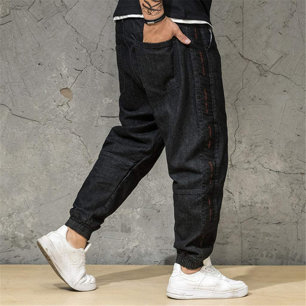 Mens Jeans Relaxed Fit Casual Baggy Drawstring Skate Board Harem Sports Running Jogger Pants Trouser Plus Size S-8XL