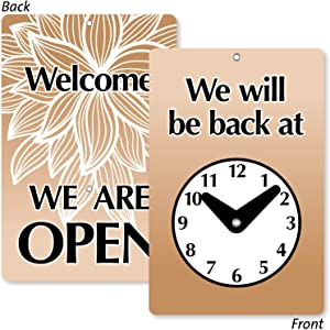"""SmartSign""""Will Be Back/Welcome We are Open"""" Two Sided Be Back Clock Sign 