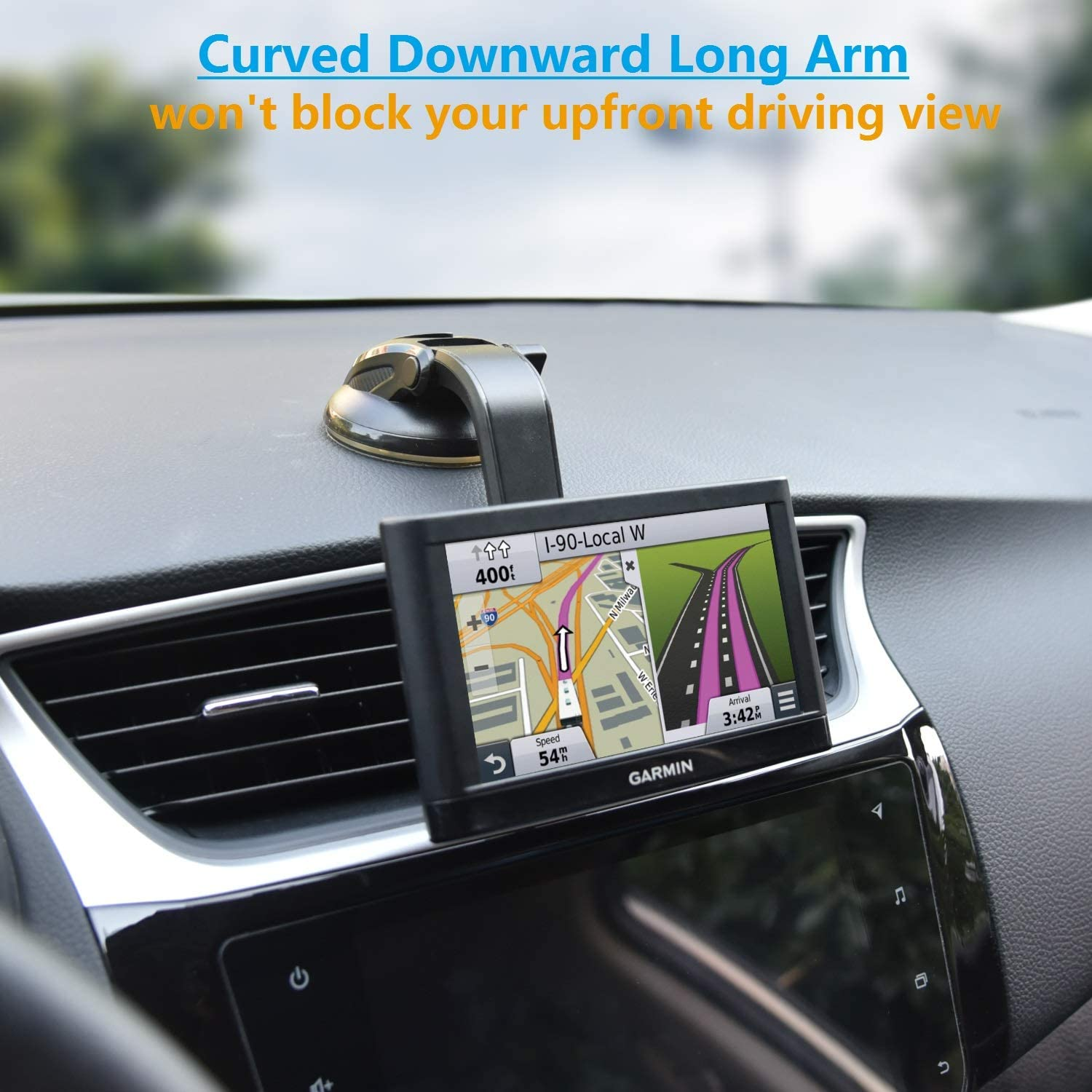 GPS Dashboard Mount with Adjustable Curved Arm Industrial-Strength Gel Suction Cup Dash Windshield Mount Upgraded GPS Holder for Car Garmin Nuvi Dezl DriveSmart StreetPilot Zumo Driveassist DriveLuxe