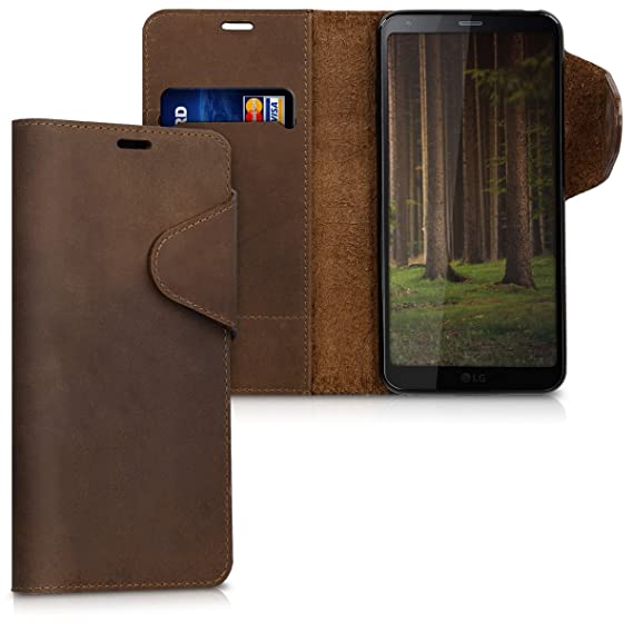 pretty nice 238d1 661de kalibri Wallet Case for LG G6 - Genuine Leather Book Style Protective Cover  with Card Slot - Brown